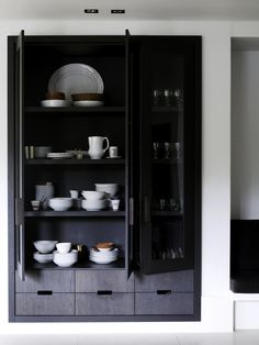 white wall and black inset cabinetry  -  Interior Design - Home Decor - #design #decor #interiordesign
