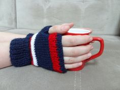 4th of July Knit Fingerless Gloves Navy by SwomanStore on Etsy