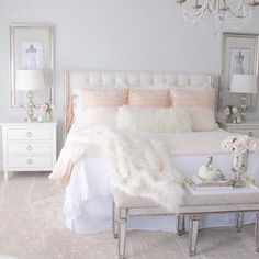 Schlafzimmer Grace bedding set - Pink Champagne set A Short Guide To Arom Bedroom Ideas For Teen Girls, Teen Girl Bedrooms, Master Bedrooms, Pink Bedrooms, Pink Master Bedroom, Blush Bedroom, Warm Bedroom, Pretty Bedroom, Rich Girl Bedroom
