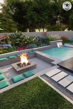 Backyard Pool Landscaping, Backyard Pool Designs, Small Backyard Pools, Swimming Pools Backyard, Backyard Ideas, Patio Ideas, Pool Ideas, Infinity Pool Backyard, Dream House Exterior