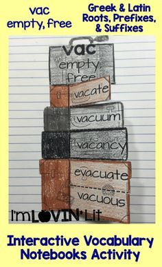 Vac - Empty, Free; Greek and Latin Roots, Prefixes and Suffixes Foldables; Greek and Latin Roots Interactive Notebook Activity by Lovin' Lit