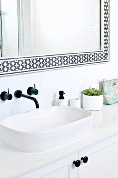 Modern Hamptons bathroom inspiration with gorgeous patterned floor tiles, a classic black and white palette and some graphic modern touches. Totally do-able Hamptons style for your contemporary or coastal home. Wood Bathroom, Bathroom Renos, Budget Bathroom, Bathroom Interior, Narrow Bathroom, White Bathroom, Bathroom Ideas, Beach Cottage Style, Coastal Style