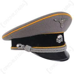 935cfbfe338 German Waffen SS Officer Visor Cap - Gold Yellow Piping Main