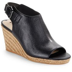 Via Spiga Open Toe Espadrilles Wedge Sandals ($97) ❤ liked on Polyvore featuring shoes, sandals, black, braided wedge sandals, wedge shoes, espadrille wedge sandals, cushioned sandals and black wedge shoes