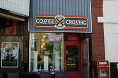Outside shots of businesses  in Livingston, Montana. Coffee Crossing.