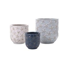 IMAX Home 35287-3 Starfish Earthenware Planters - Set of 3 N/A Home (1040 MAD) ❤ liked on Polyvore featuring home, outdoors, outdoor decor, accents, home decor, planters and blue planter