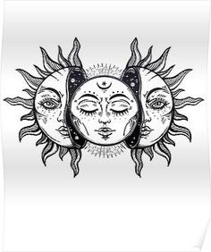 """""""Vintage Solar Eclipse Sun and Moon"""" Poster by MagneticMama, # . - """"Vintage Solar Eclipse Sun and Moon"""" poster by MagneticMama, rate - Vintage Tattoo Design, Vintage Tattoos, Sun Tattoos, Body Art Tattoos, Moon Sun Tattoo, Tatoos, Calf Tattoos, Dream Tattoos, Celtic Tattoos"""