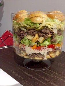 Sałatka Big Mac Rewelacyjna sałatka, która z pewnością stanie się hitem każdej imprezy. Jest bardzo efektowna i mega smaczna, wyglądem przypomina popularnego hamburgera. Idealna na spotkanie z przyjaciółmi, domową imprezkę czy nawet zwykłą kolacje w rodzinnym gronie. Polecam! Składniki: 0,5kg mielonego mięsa wołowego 4 duże bułki hamburgerowe ( mogą być kupne lub domowe, ja upiekłam … Big Mac, Polish Recipes, Salad Bar, Tortellini, Italian Recipes, Hamburger, Food And Drink, Yummy Food, Lunch