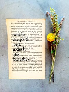 Stamped Vintage Book Page, Inhale The Good Shit Exhale The Bullshit, Book Page Writer Gift,Type Writer Font, Vintage Book Page, Yoga Quote by SweetThymeDesign on Etsy