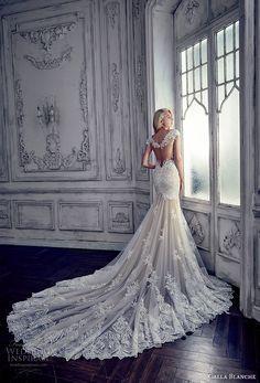 calla blanche spring 2017 bridal cap sleeves thick strap deep plunging sweetheart neckline heavily embellished bodice elegant sheath fit flare wedding dress keyhole back royal train (17112) bv