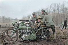 Colorized WW1 Motorcycle Machine Gun
