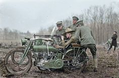 ColorizedWorld War I soldiers can be see practicing on a Harley-Davidson gunnery. In the later years of WWI the United States deployed more than 20,000 Indian and Harley-Davidson motorcycles overseas. Each crew would normally consist of a driver and gunner in the sidecar. WWI-Motorcycle-Machine-Gun