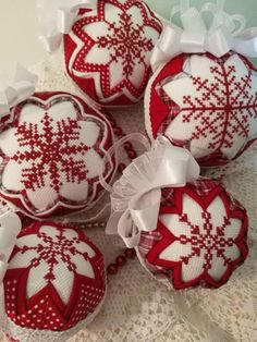 Snowflake Quilted Christmas Bauble Quilted Ornament Cross