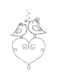 Corazón con pajaritos