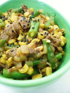 Carne Chinesa com Vagens e Milho | Figos & Funghis