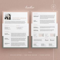 CV Template Heather Resume/CV Template | Word | Photoshop | InDesign | Professional Resume Design | Cover Letter | Instant Download