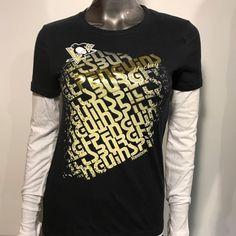 Pittsburgh Penguins Reebok Youth Girl s M Gold Foil Long Sleeve T-shirt ce89135cd