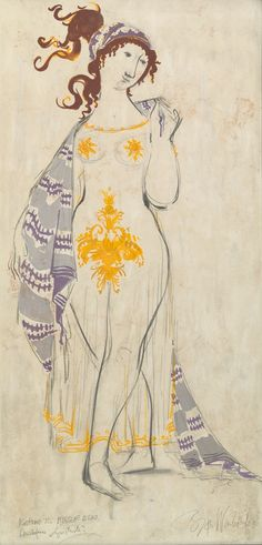 Bjorn Wiinblad (Danish, 1918-2006), Costume for Myrrhine from Aristophanes Lysistrata.