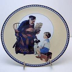 """Innocence and Experience Series by Knowles (Norman Rockwell)-SET of 4:""""Sea Captain""""-""""Radio Operator""""-""""The Magician"""" AND """"The American Heroes"""" Issued in 1991 by Edwin M. Knowles Fine China. There are four plates in the series. http://www.amazon.com/dp/B00PFWFXDC/ref=cm_sw_r_pi_dp_C.oyub0966D40"""