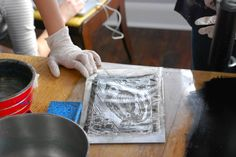 Learn how to print lithographic images using aluminum foil and coke. The joys of printing with items found in your kitchen!