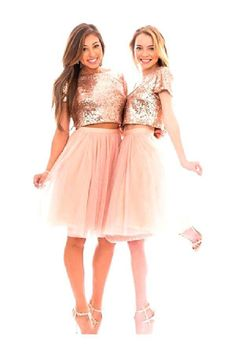 Cute Bridesmaid Dress, Two Pieces Bridesmaid Dress, Bridesmaid Dress Pink, Bridesmaid Dresses, Short sleeve Bridesmaid Dress Bridesmaid Dresses 2019 Cap Sleeve Bridesmaid Dress, Pink Bridesmaid Dresses Short, Beautiful Bridesmaid Dresses, Homecoming Dresses, Short Dresses, Wedding Dresses, Rose Gold Quinceanera Dresses, Rose Gold Wedding Dress, Rose Gold Skirt