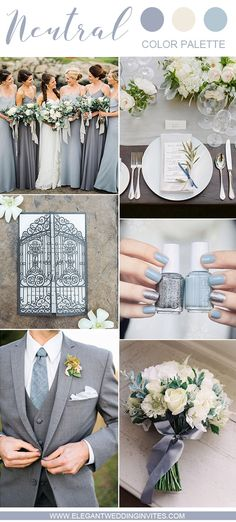 romantic steel grey, dusty blue and cream white wedding colors