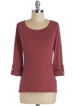 Gather, Rinse, Repeat Top in Brick - Mid-length, Knit, Red, Solid, Casual, Long Sleeve