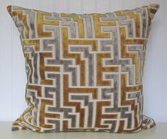 Velvet Decorative Pillow Cover--Geometric Throw Pillow--Gold and Taupe.. $49.00, via Etsy.