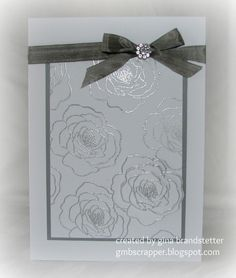 Gina's Little Corner of StampinHeaven: Silver Embossed Wedding Card