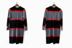 vintage 60s dress black and grey striped wool shift by hemlines, $42.00