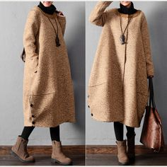 www.buykud.com/collections/woolen-coat/products/women-winter-warm-long-woolen-coat Modern Hijab Fashion, Abaya Fashion, Muslim Fashion, Modest Fashion, Korean Fashion, Fashion Dresses, Casual Hijab Outfit, Casual Outfits, Mantel