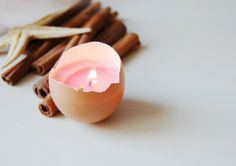 Easter egg shell candle is more cute than a plan votive