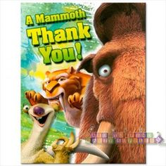 Ice Age 3 'Dawn of the Dinosaurs' Thank You Notes w/ Envelopes (8ct)