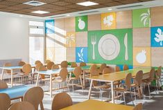 15 Incredible Cafeterias You Wish You Had In Your School Outstanding School Cafeterias wood on walls and paintings of trees/plants/fruits and plates. Blue green and yellow long tables Cafeteria Design, Kindergarten Interior, Kindergarten Design, Diy Bathroom, King Solomon, Lunch Room, Eat Lunch, School Furniture, School Pictures