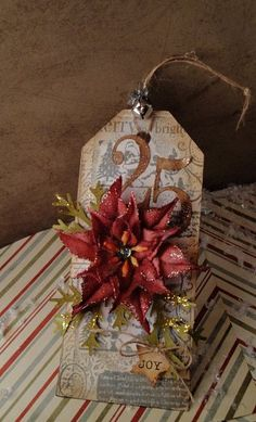 Poinsettia Christmas Tag created by Nat / Simply Sweet Stamping.