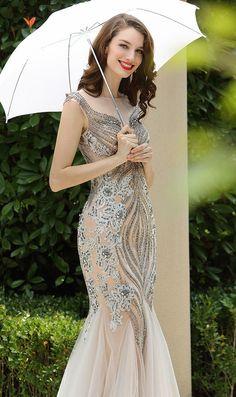 [USD 449.99] Carlyna Grey Beaded Sleeveless Mermaid Prom Formal Dress (E60808)