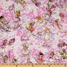 Michael Miller Petal Flower Fairies Allover Fairies Pink from @fabricdotcom  Licensed by the Estate of Cicely Mary Barker to Michael Miller Fabrics, this cotton prints features delicate fairies in colors of pink, green, lavender and ivory.  Use for quilting and craft projects.