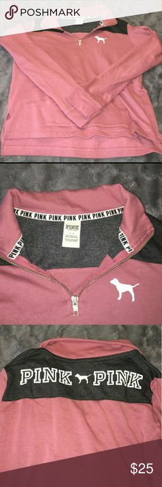 VS PINK SOFT BEGONIA HALF ZIP sooo pretty and barely used, I just have too many things like this :( PINK Victoria's Secret Sweaters