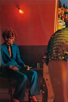 Gala Mitchell for Vogue Paris, Photo by Guy Bourdin punk new wave studio 54 disco glam rock looks teal blue suit women vintage fashion shirt tie heels shoes red hair bowie esque