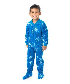 Take a look at this Blue Snow Day Footie Pajamas - Toddler by Footed Pajamas on #zulily today!