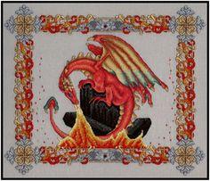 Seasonal Dragons Summer Dragon cross stitch pattern by Dragon Cross Stitch, Fantasy Cross Stitch, Cross Stitch Charts, Cross Stitch Patterns, Cross Stitching, Cross Stitch Embroidery, Dragon Dreaming, Mill Hill Beads, Dragon Pattern
