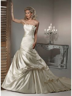 Affordable Modest Ball Gown Strapless Chapel Train Champagne Satin Wedding Dresses 801139