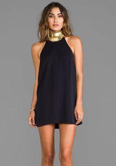 KEEPSAKE Modern Myth Mini Dress in Dark Navy/Gold - Dresses