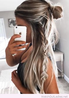 Bun and braid with grey hair color