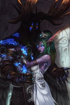 Tyrande Whisperwind & Malfurion Stormrage. World of Warcraft Art.