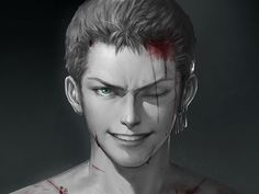 Pixiv Id 1417939, ONE PIECE, Roronoa Zoro, Spot Color, Blood On Face, Realistic