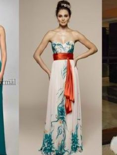 bridesmaids dresses w/o the orange obi belt...I'm thinking kiwi green
