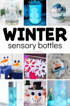 LOVE these winter sensory bottles! What a great way to teach self-regulation with sensory play in preschool. Feelings Activities, Early Learning Activities, Winter Activities For Kids, Sensory Activities, Sensory Play, Sensory Table, Winter Fun, Winter Theme, Winter Ideas