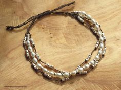 White Pearls Knotted Brown Silk Adjustable Size 3 Strand Bracelet with Tiny Silver Nugget Beads