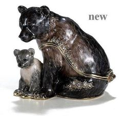 Grizzly Bear with Cub -Kubla Crafts Trinket Box - MIB - BEAUTIFUL! #3337   Can be found at www.pacifictraders.biz